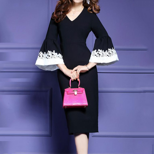 V-Neck  Plain Bodycon  Valve Sleeves  Dress