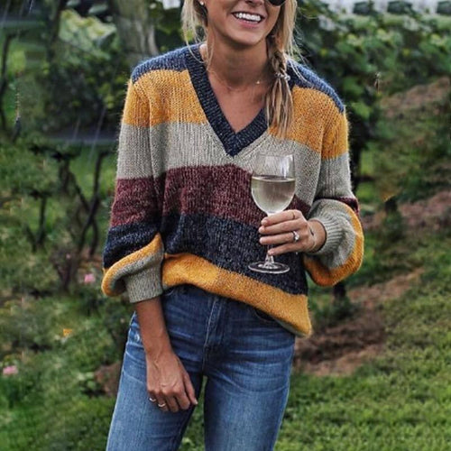 V Neck  Loose Fitting  Striped Sweaters