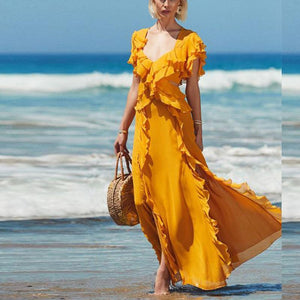 Deep V Neck With Chiffons Short Sleeve Maxi Dress