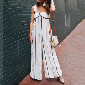 Fashion Sling Stripe Jumpsuit