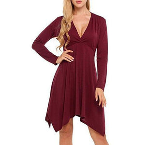 Women Solid V Neck Long Sleeve Irregular Casual Dress