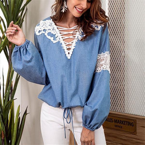 V-necked lace lace patchwork long-sleeve shirt