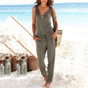 V Neck Zipper Belt Jumpsuits