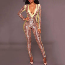 Sexy Deep V Long Sleeves Skinny Jumpsuit