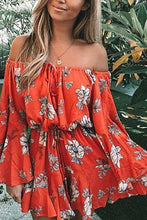 Off Shoulder  Asymmetric Hem Backless Drawstring  Curved Hem  Floral  Bell Sleeve Shift Dresses