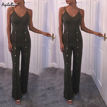 Solid Color Sexy V Collar Sling Rivet Long Slim Jumpsuit