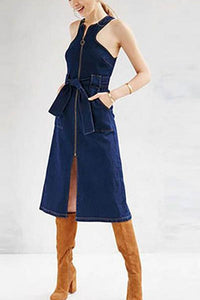 Sexy Sleeveless Split Denim Shift Dress