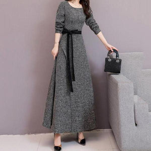 Fashion Long Sleeves Long Style Shown Thin Frenulum Knitted Maxi Dress
