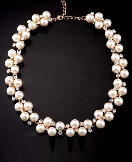 White Pearl Rhinestone Necklace