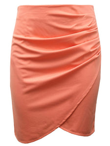 Plain Ruched Tulip Midi Skirt