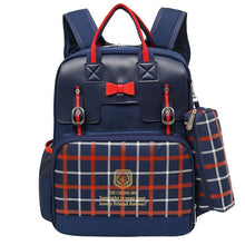 Bowknot Plaid Zipper Backpack With Pencil Bag