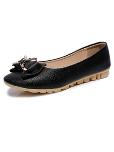 Plain  Flat  Faux Leather  Round Toe  Date Flat & Loafers