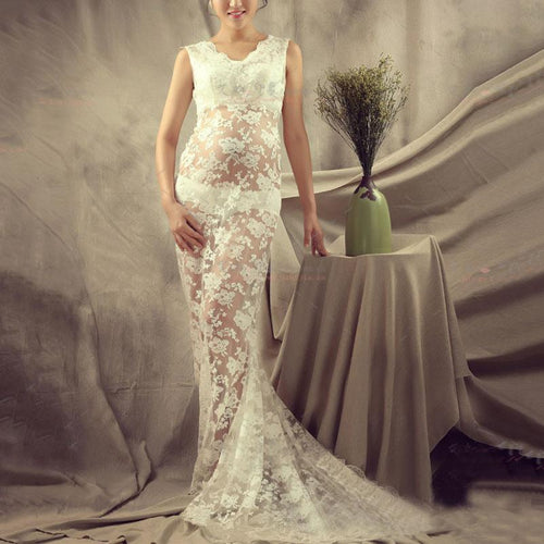 Maternity Elegant Solid White Sleeveless Lace Maxi Dress With Underwear