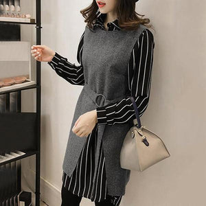 Vertical Striped Two-Piece Shift Dress