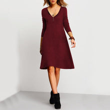 V-Neck Loose Knee Length Plain Elegant Shift Dresses