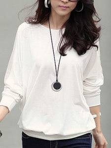White Patchwork Long Sleeve Loose T Shirt