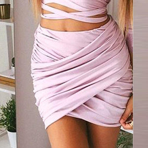 Pleated Slim Short Skirt