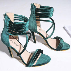 Zipper Strap Hollow Sexy Sandals Wedding Party Shoes
