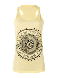 Round Neck Sun Printed Vests