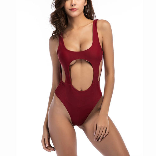 Sexy Hollow Solid-Color One-Piece Swimsuit