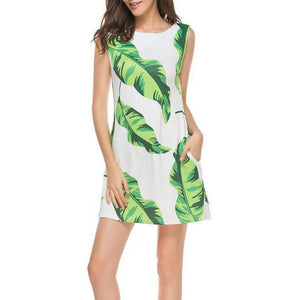 Casual Round Collar Digital Printing Sleeveless Shift Dress