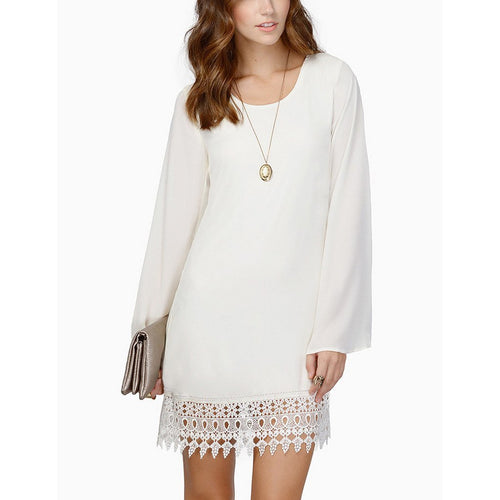 Lace Stitching Puff Sleeve A-Line Shift Dress
