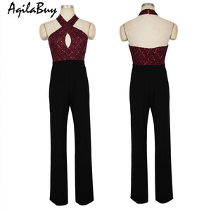 Sexy Sequins Hollow Cross Straps Jumpsuit