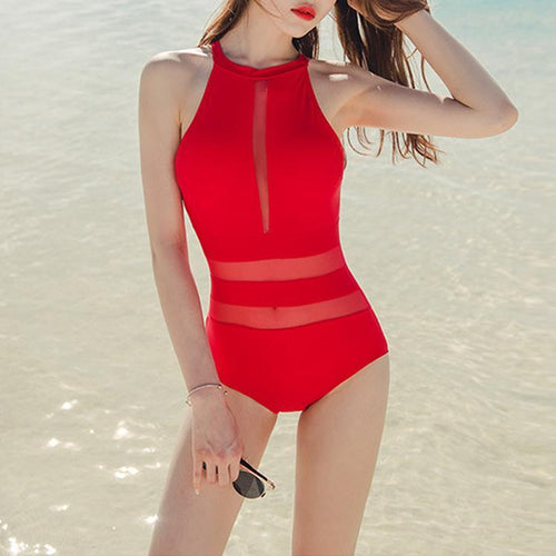 Red Sexy Charming One-Piece Swimwear