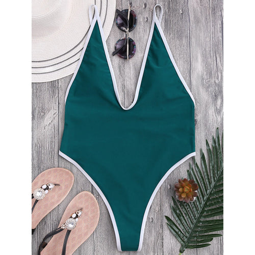 Green Deep V-Neck Halter One-Piece Swimwear