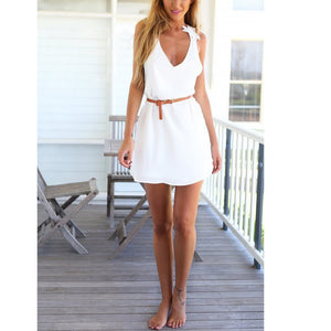Sexy V Collar Lace Cross Halter Sleeveless Mini Dress
