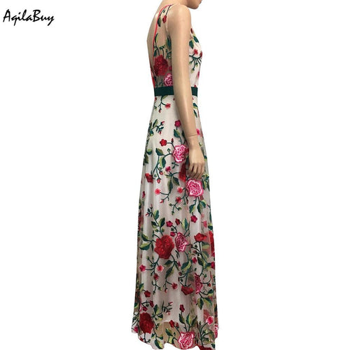 Sleeveless Embroidery Printed Halter Expansion Evening Dress