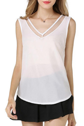 V Neck  Patchwork See Through  Plain Vests