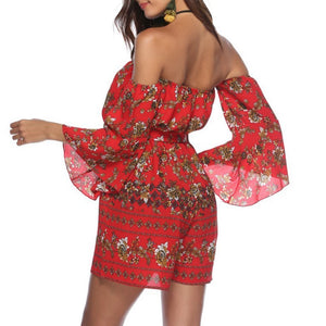 Positional Flower Printed Sexy Strapless Collar Jumpsuit With Belt