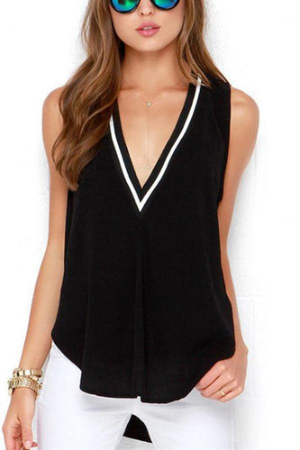 Deep V Neck  Asymmetric Hem  Color Block  Vests