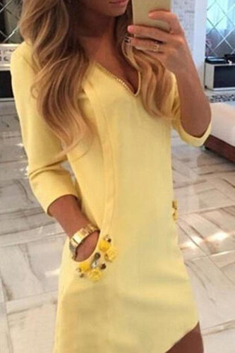 V Neck  Diamante  Plain  Long Sleeve Casual Dresses