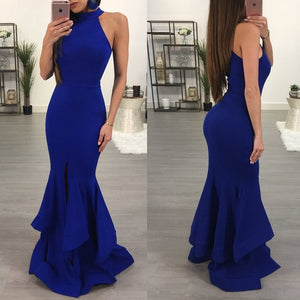 Sleeveless Solid Color Lotus Leaf Package Hip Evening Dress