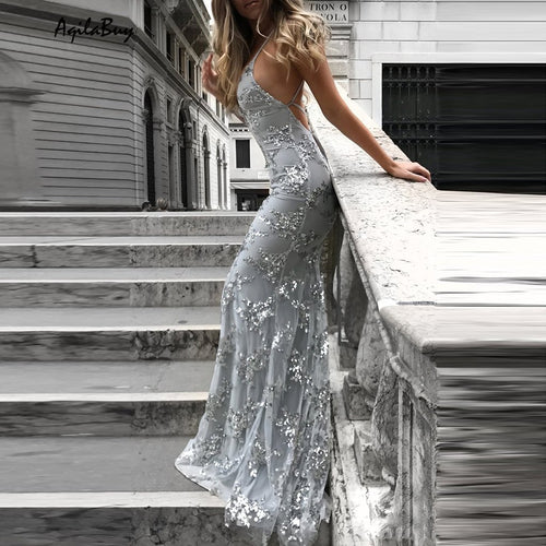 Sexy V-Neck Sleeveless Strap Sequined Evening Dress
