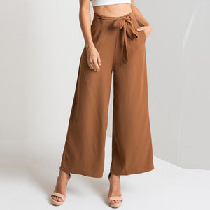 Fashion Loose Pure Color Pants With Belt