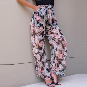 Fashion Loose Printing Chiffon Beach Pants With Belt