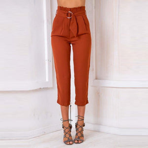 Casual Pure Color Shift Slim Long Pants With Belt