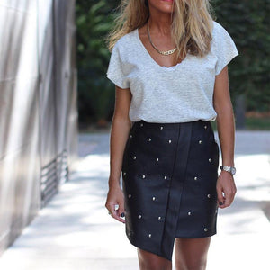 New Stitching Irregular Pu Leather Beaded Skirt