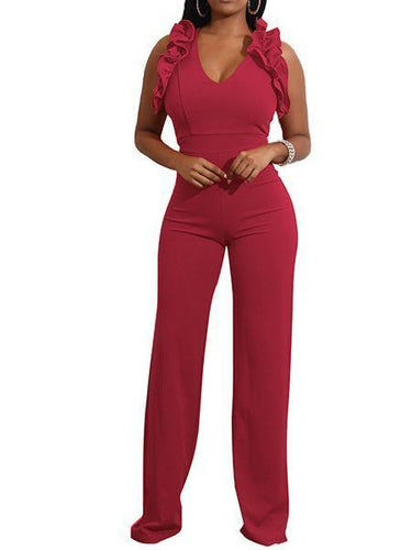 Women's New Six Color Sexy Deep V-Neck Skinny Jumpsuit