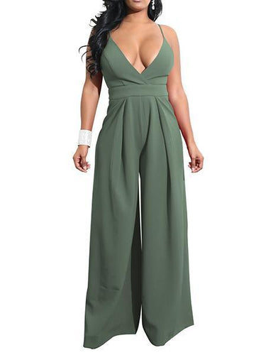 Women's New Sexy V-Neck Halter Jumpsuit Jumpsuit