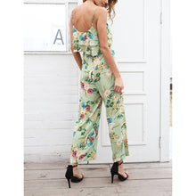Bohemian Sexy Printing Chiffon Jumpsuit With Belt