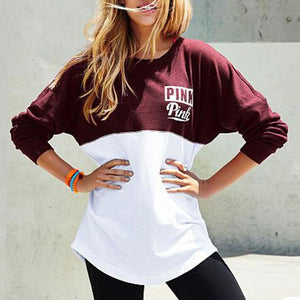 Letter Print Two Tone Sweatshirt
