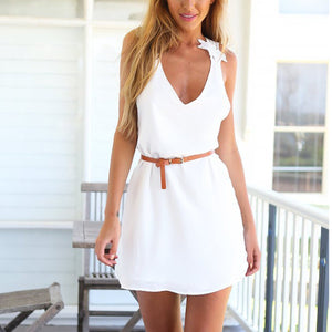 White Casual Sleeveless Pure Color Mini Dress