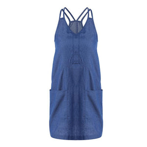 V-Neck Denim Halter Skirt Casual Wear Pocket Dress