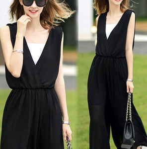 New Summer Sleeveless V-Neck Chiffon Jumpsuit