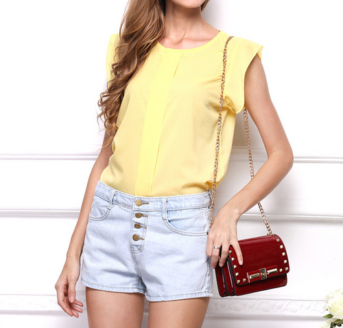 Ms. New Solid Color Flying Sleeve Chiffon Shirt