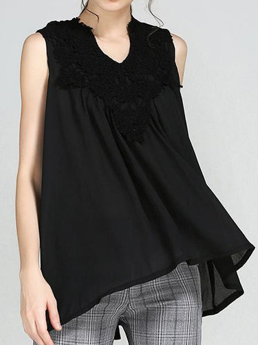 Ladies New V-Neck Lace Stitching Chiffon Shirt